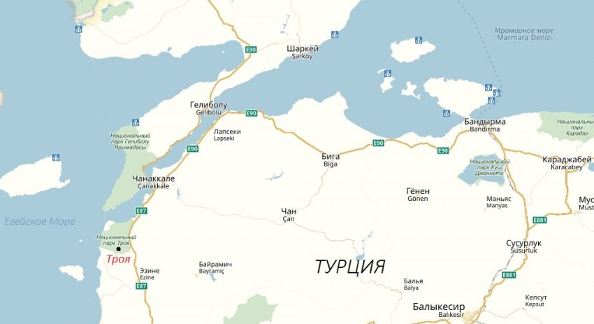 Троя на карте Турции сегодня