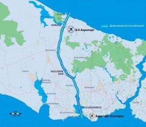 Канал «Стамбул» на карте
